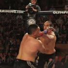 Apii Taia (left) and Bishop Poi Poi go at it during a South Island title fight at Dunedin's...
