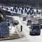 Area fire and ambulance crews arrive near the scene in Middletown, Connecticut where multiple...