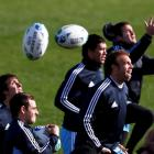 Argentina players at training in Dunedin today. Photo: REUTERS/Marcos Brindicci