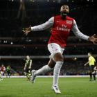Arsenal's Thierry Henry celebrates his goal against Leeds United during their FA Cup match at the...