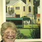 Val Webb with her winning oil painting 'Last Bowl'. Photo by Peter McIntosh.