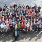 Arthur Street School's new principal Verity Harlick with her pupils on her first day at the...