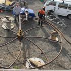 Artist Don Paterson and engineer  Brad Scanlan admire their 6m high handiwork at Trafo Power...