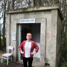 Artist Kelly O'Shea at the site of her burgled ''Jewel Gallery'' installation in Montecillo...