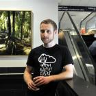 Artist Sam Foley during the hanging of his exhibition at Dunedin Airport yesterday. Photo by...