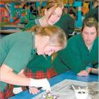 Menzies College art pupils (from left) Anna Poole (15), Charissa Stewart (14) and Kendal Walker ...