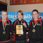 Ashburton Borough School 1 team members (from left) Ben Nordquist (10), Leah Ford (10) and Harry...