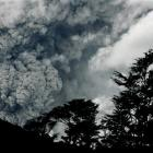 Ashes  and smoke billow through the clouds after the eruption of the Puyehue-Cordon Caulle...