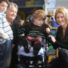 Associate Education Minister Heather Roy (right) meets Forbury School pupil Terry Kennedy (10),...