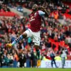 Aston Villa's Christian Benteke celebrates his side's win over Liverpool. Action Images via...