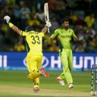 Australia's Shane Watson celebrates as he scores the winning run against Pakistan. REUTERS/David...