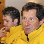 Australia Wallabies coach Robbie Deans (R) and captain James Horwill attend a news conference...