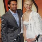 Australian actors Nicole Kidman and Hugh Jackman pose for photos prior to the start of a press...