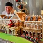 Baker Steve Mee with his gingerbread Dunedin Railway Station at the Scenic Southern Cross Hotel...