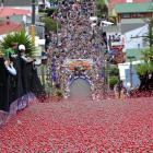 Baldwin St turns red as 25,000 giant Jaffas are sent rolling down the world's steepest street at...