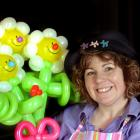 Balloon twister Pip Milford-Hughes with her winning creation yesterday. Photo by Stephen Jaquiery.