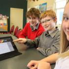 Balmacewen year 7 pupils (from front) Elena Robertson (12), Henry Eden-Mann (11) and Dmitri...