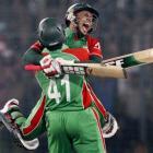 Bangladesh captain Mushfiqur Rahim celebrates with Abdur Razzak (41) after they defeated West...
