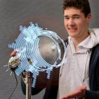 Bayfield High School pupil Shaun Tocher with his Clepsydra volumetric visualiser display which...