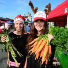 Bella Adamson and Moira Roberts show off their wares at the Otago Farmers Market. Photos by...