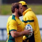 Ben Alexander at a Wallabies training session in Auckland. Photo: REUTERS/Bogdan Cristel