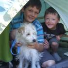 Ben and Josh Henderson, with Gracie, have been enjoying camping beside Lake Aviemore. Photo by...