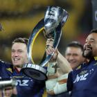 Ben Smith and Nasi Manu of the Highlanders celebrate winning the Super Rugby Title between the...