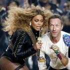 Beyonce and Chris Martin of Coldplay perform together. Photo: Reuters