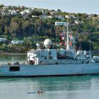 BFNS Prairial cruises up Otago Harbour yesterday. Photo supplied.