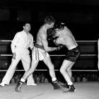 Billy Leckie and Joe McNally fight at the Dunedin Town Hall in 1958. Photo from <i>ODT</i> files.