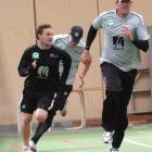Black Caps Brendon McCullum (left) and Jacob Oram in full flight at indoor training in Dunedin...