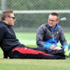 Black Caps coach Mike Hesson and Brendon McCullum at Brooklands Park. Photo by ODT.