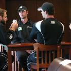 Black Caps (from left) Daniel Vettori, James Franklin, Kyle Mills and Ross Taylor fill in time...
