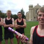 Blair Grant (14, holding baton) with his Waitaki Boys High School 100m relay team-mates (from...
