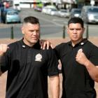 Boxer Kali Meehan (left) and son Willis were in Dunedin yesterday promoting Kali's fight against...