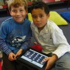 Bradford School Year 2 and 3 pupils (from left) Elijah Trounson (6) and Nikau Poki (7) try out...