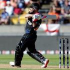Brendon McCullum on his way to 77 against England in Wellington. REUTERS/Anthony Phelps