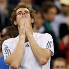 Britain's Andy Murray reacts after defeating Serbia's Novak Djokovic to win the US Open tennis...