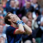 Britain's Andy Murray reacts after winning his men's singles semifinal match against Serbia's...