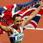 Britain's Jessica Ennis celebrates winning the women's heptathlon at the London Olympic Games....
