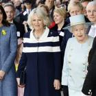 Britain's Queen Elizabeth II, right, Camilla, Duchess of Cornwall, centre, and Kate, Duchess of...