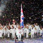 British athletes take part in the opening ceremony of the London 2012 Paralympic Games in the...