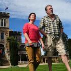 British writers Rachel Dixon and Tim Bentinck stroll at Larnach Castle, in Dunedin. Photo by...