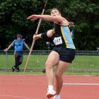 Bryn McLeod-Jones in action in the senior men's javelin at the Caledonian Ground on Saturday....