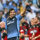 Bulls captain Victor Matfield gestures to fans after his team beat the Crusaders in a Super 14...