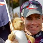 Cadel Evans reacts after the the 21st and last stage of the Tour de France. Photo by AP.
