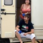 Campers Jennine and Chris White, of Christchurch, at the Dunedin Holiday Park on Saturday.