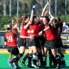 Canterbury players celebrate their 2-1 golden-goal win over Midlands in the final of the national...