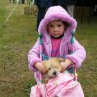 Cassie Kreft (5), of Heriot, had Bichon-cross puppy Shortie well wrapped up for the pet parade....