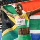 Caster Semenya, of South Africa, celebrates after wining in the women's 800m final at the world...
